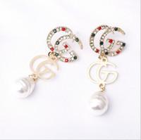 alphabet buchstabencharme sterling silber großhandel-S925 Silber Pin Verzierte Ohrringe Buchstabe G Ohrringe Mit Perle Luxus Berühmten Designer Für Schmuck Hochzeitsgeschenke