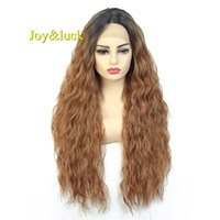Wholesale ombre synthetic kinky curly wigs for sale - Group buy Joy luck Long Lace Front Wig Afro Kinky Curly Synthetic Wigs for Women Ombre Brown Full Wig With Bangs African Women Hair Wig