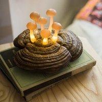 cogumelo lâmpada de mesa branco venda por atacado-Cogumelos que crescem na luz da lâmpada LED Início Tabela Decoração Ganoderma Quente LED White Light Lamp Xmas Início da árvore de Natal Noite