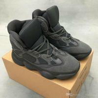 sapatos de corrida super leve venda por atacado-New Kanye West 500 Running Shoes Mens Trainers Triplo Light Gray Super Black Outdoor Casual Sports Walking Designer sapatos tamanho 40-45