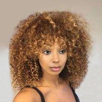 en güzel sarışın saç toptan satış-Hotsale simülasyon brezilyalı İnsan saç Kısa Sapıkça Kıvırcık ombre Peruk En Iyi Afro-amerikan sarışın peruk patlama ile sentetik isıya dayanıklı