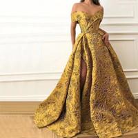 Wholesale golden short dresses resale online - Dubai Arabian Golden Lace Evening Dress Sexy Fashion Off Shoulder Side Split Cocktail Party Dresses Prom Gowns