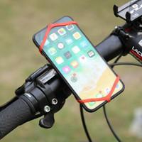 soporte para teléfono de bicicleta de montaña al por mayor-Correa de silicona universal Soporte para teléfono Banda Mountain Road Bike Phone Linterna Bandas Elástico Vendaje Holder Soporte de bicicleta # 454974