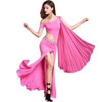 bollywood kleider großhandel-Hübsches Bauchtanzkleid Frauen Sexy Bollywood Bellydance Kleider Unregelmäßige Hohl Gypsy Tanzen Outfits Erwachsene Tanzabnutzung DC1287