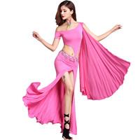 ingrosso danza del ventre di bollywood-Vestito da danza del ventre grazioso Vestito da danza del ventre sexy di Bollywood Vestito da ballo zingaro vuoto irregolare Vestito da ballo per adulti DC1287