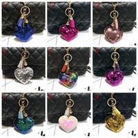 porte-clés pour sacs à main femme achat en gros de-72 styles paillettes porte-clés Bling paillettes prune fleur porte-clés charme voiture sacs à main sac à main accessoires pour filles femmes