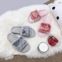 плоский сандалии корейский стиль оптовых- fur open toe flat sandals women korean style shoes letters embroider furry slippers ladies fashion flip flops mujer