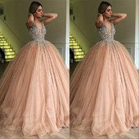 55ccc4e5503 V Neck Long Prom Party Dresses 2019 Glamorous Bead Evening Gowns Pink Tulle Sweep  Train Quinceanera Dress