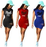 artı boyutu takılı kulübü elbiseleri toptan satış-PEMBE Tek Parça Mini Elbise Kadın Slim Fit Bodycon Parti Elbise Kulübü Giyim Yaz Streetwer Ripped Etek Parti Artı Boyutu Ekip Boyun 6