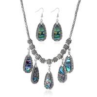 Wholesale water drop pendants necklace Shell dangle earrings for women retro luxury Silver jewelry set wedding bride evening dress accessories