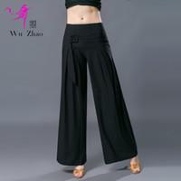 moda latina venda por atacado-Senhora Preta Calças de Competição de Dança Latina Prática Moda Ballroom Dança De Pernas Largas Cintura Alta Pernas Longas Calças H717