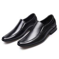 zapatos de cuero marrón para hombres al por mayor-Los nuevos hombres de negocios formal Zapatos Negro Marrón Pequeñas zapatos de cuero de zapatos Oxford cuadrados visten los zapatos d2a63