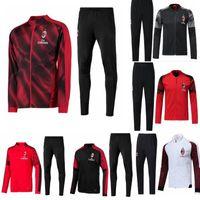 conjunto de zíper venda por atacado-2018-2019 -2020 AC Milan treino survetement jacket set 18-19-20 CALHANOGLU Completo zíper jaqueta de futebol sportswear treino