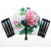 Wholesale fancy folded hand fans resale online - Vintage Flower Printing Paper Fan Wedding Decoration Party Favors Chinese Hand Folding Fan Fancy Women Girls Dancing