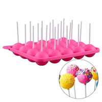 lutscher kuchen stöcke großhandel-Silikon Tray Pop Kuchen Stick Mold Lollipop Party Cupcake Backform Eiswürfelschale Sphere Maker Schokoladenform