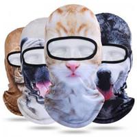 ingrosso cappello copre la faccia-Inverno Outdoor Animale Passamontagna Stampa 3D cane gatto tigre Bicicletta Ciclismo Ski full Face Mask CAPPELLO Copricapo copricapo AAA1751