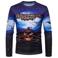 hauts pour hommes achat en gros de-Halloween Party Digital Imprimé Designer T-shirts à manches longues citrouille Crew Neck Mens Top Tops
