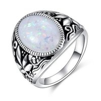 Wholesale blue leaf ring resale online - Trendy Pink Blue White Opal Ring for Women Girls Retro Leaf Pattern Oval Stone Finger Rings Jewelry Gift anel feminino Size