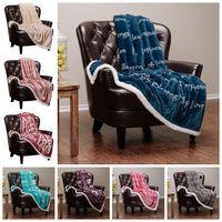 halı halıları toptan satış-Flanel Battaniye Renkli Kalınlaşmış Mektup Baskılı Battaniye Sherpa Polar 3D Baskı Halı Kanepe Halı Giyilebilir Battaniye Atmak CCA11830 2 adet