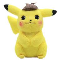 qualität plüschtiere großhandel-28 cm Detektiv Pikachu Plüschtier Hohe Qualität Nette Anime Plüschtiere kinder Geschenk Spielzeug Kinder Cartoon Peluche Pikachu Plüsch Puppe Y190530