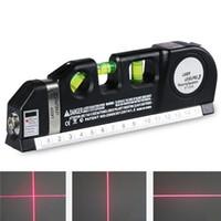 fitas de medida venda por atacado-Nível Multipurpose Laser Horizon Vertical Medida Alinhador de Bolhas Régua 2.5 M 8FT multifunções nivelador laser nível ferramenta Laser LV03