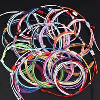 brazaletes de cuerda al por mayor-201910 Cera de rosca pulseras tejidas hechas a mano de múltiples capas tejida pulsera de la amistad de cera cuerda trenzada brazalete ajustable Mujeres H994F joyería