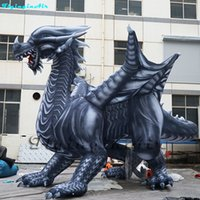 Wholesale inflatable dragons online – ideas 5m Fierce Inflatable Dinosaur Pterosaur Vivid Dragon with Wings for Zoo Museum Event