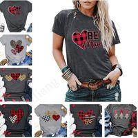 blusas de corazon mujeres al por mayor-15 colores de la Mujer de San Valentín camisetas del día de la manga corta del corazón de la Love Letters blusas de las mujeres camisas ocasionales camiseta de los deportes de verano Tops E1904