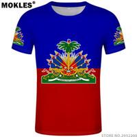 camisas impressas bandeira venda por atacado-Haiti T Shirt Diy Livre Personalizado Número Nome Hti T-shirt Nação Bandeira País Ht Francês República Do Haiti Colégio Impressão Foto Roupas Y190412