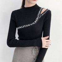 blusas pretas sexy venda por atacado-2018 Inverno Sexy oco Out retalhos de sweaters da Mulher Pullovers Puxe Femme Moda gola alta preta camisola branca Sueter Mujer