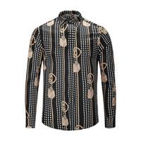 weiße tupfenhemd männer großhandel-True Reveler-Nachtclubhemden entwerfen Herren Langarm-Klassiker schwarz weiße Bluse Mode schwarz Gold Polka Dot Print Tops Shirt