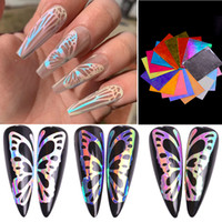 Wholesale nails art resale online - 16pcs Laser Colorful Nail Art Sticker d Butterfly Fire Flame Leaf Holographic Nail Foil Stickers Decals DIY Glitter Decorations