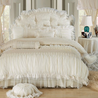 Wholesale white princess bedding for sale - Group buy Beige Lace Princess Quilt duvet cover king queen cotton Ruffles bedspread bed skirts bedclothes bedding sets wedding