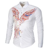 camisas de colar alto fino venda por atacado-MUQGEW camisa dos homens slim fit camisa dos homens de alta qualidade dos homens Impresso Blusa Casual Manga Longa Magro Turn-down Collar Camisas Tops # G4