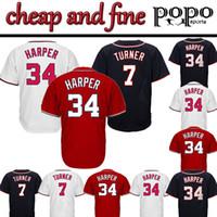 stickerei nationale großhandel-Cheap Nationals Baseball Trikots Trikots 7 TURNER 34 HARPER Embroidery logo Top Qualitätssicherung