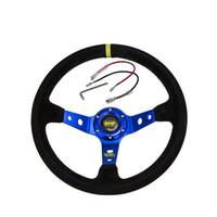volantes profundos venda por atacado-Volante azul 14 polegadas 350mm OMP Deep milho à deriva volante de couro de camurça volante