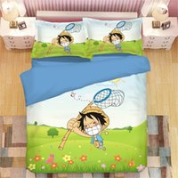 Wholesale japanese anime bedding resale online - Japanese Anime Smiling face One Piece Bedding Set Boy soft bedclothes Spring Grassland duvet cover quilt cover Comfortable