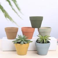 Wholesale ceramic planter pots resale online - 6styles Succulents pots with Bamboo Base Decor simple candy color flower pots planters plant potted desk home garden supplies FFA3389C