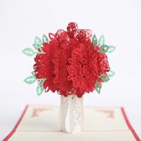 hochzeitseinladungen rotes 3d großhandel-3D Hochzeitskarten Red Rose Valentinstag Geschenkkarten Handblumenstrauß Blumenjubiläum Hochzeitseinladungskarten Versorgung