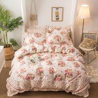 ingrosso fogli di stampa floreali rosa-4 pezzi rosa blu stampa floreale biancheria da letto in stile coreano queen size biancheria da letto morbido set di lenzuola copripiumino federe