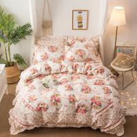 feuilles imprimées florales roses achat en gros de-4pcs ensemble de literie style coréen rose imprimé floral bleu reine taille doux literie draps ensemble housse de couette taies d'oreiller