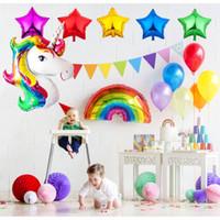 ingrosso festa di compleanno decorata rosa-Festa di compleanno di spedizione gratuita decorata con palloncini in lattice perlescenti monocolore in alluminio color viola, iridescenti e rosa