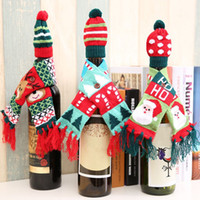 Wholesale black knitted scarf resale online - 3 Patterns Knitted Tassel Scarf Hat Cap Christmas Red Wine Bottle Cover Decoration Home Party Novelty Great Gifts