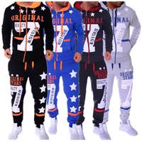 Wholesale hit clothing online - Men Fashion Hoodies Set Suits Hit Color Stars Sweater Sweatsuit Mens Track Suit Set Men Clothes Tracksuits
