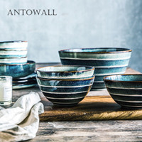 Wholesale japanese soup bowls for sale - Group buy ANTOWALL Household ceramic nice rice bowl Japanese style retro stripes soup dish bowl large size noodle bowl T191015