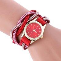 ingrosso orologi da polso in pelle-Donne Orologi 2019 Leather Wrap Around vigilanza di modo braccialetto intrecciato orologio da polso strass Womans relojes para mujer