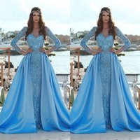 modesta vestido azul formal al por mayor-2019 Modest Blue sirena vestidos de baile con tren desmontable manga larga 3D apliques florales lentejuelas árabes vestidos de noche formales BC0638