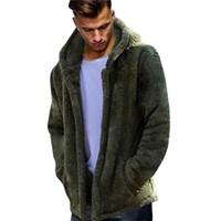 plüsch hoodie männer großhandel-Mode Männer Herbst Winter Warmer Mantel Beiläufige Lose Doppelseitige Plüsch Hoodie Tops weihnachten Langarm Revers Mantel