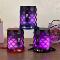 colunas para computador portátil venda por atacado-NOVO TG155 colorido LED Bluetooth Mini Speaker sem fio Hi-Fi portátil Soundbox Stereo com luz noturna Altifalante para computador portátil