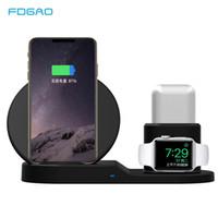 док-станция для держателя для iphone оптовых-3 в 1 беспроводное настольное зарядное устройство QI 10 Вт быстрой зарядки док стенд держатель для Apple Watch Iwatch 3 2 1 Iphone Xs Max XR x 8 Airpods